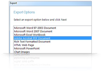 Easy export for presentations