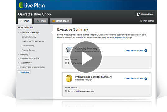screenshot of liveplan business plan